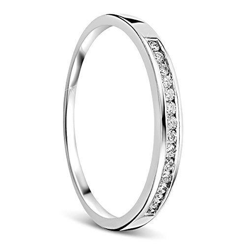 Orovi anillo de mujer compromiso/aniversario 0.10 Quilates diamantes en oro blanco 18 kilates ley 750