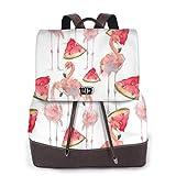 Yuanmeiju Womens Rucksack Backpack Beautiful Flamingo Summer Watermelon Shoulder Bookbag Leather Casual Bag Girls