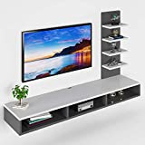 Furnifry Wooden Wall Mounted TV Unit, TV Cabinet for Wall, TV Stand for Wall, TV Stand Unit for Wall for Living Room | Ideal for TV Upto 42' (White/Grey, Accessories Included)