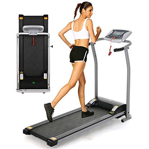 OppsDecor Folding Electric Treadmill for Home Running Machine Fitness Exercise Machine Power Motorized with Pulse Grip and Safety Key (Silver) 1