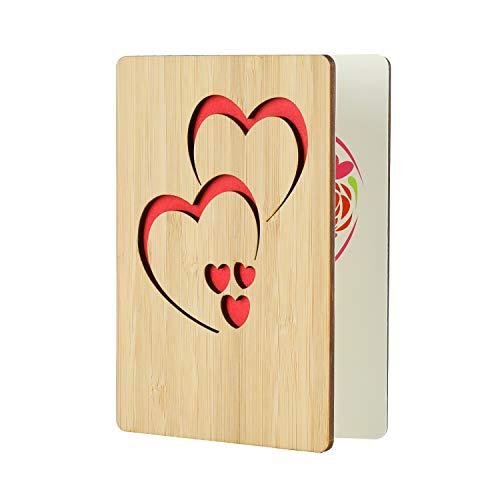 EKKONG Gefertigte Bambuskarte Beschreibbare mit Doppeltes Herz, Perfektes Geschenk für jeden Anlass - Grußkarte für Hochzeitstag, Geburtstag, Jubiläum Karte (Doppeltes Herz)