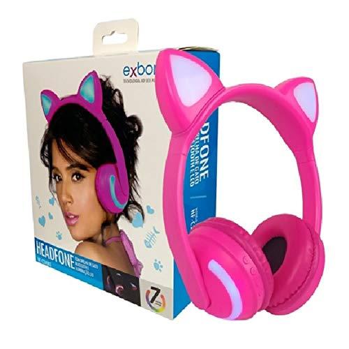 Fone de ouvido headphone bluetooth com orelha de gato rosa