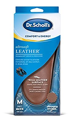 Clinically proven to provide immediate, all-day comfort in dress shoes Real leather surface helps keep feet fresh and dry Ultra soft Leather Massaging Gel Insoles for Dress Shoes Massaging Gel Technology - For energizing support and cushioning Dr. Sc...