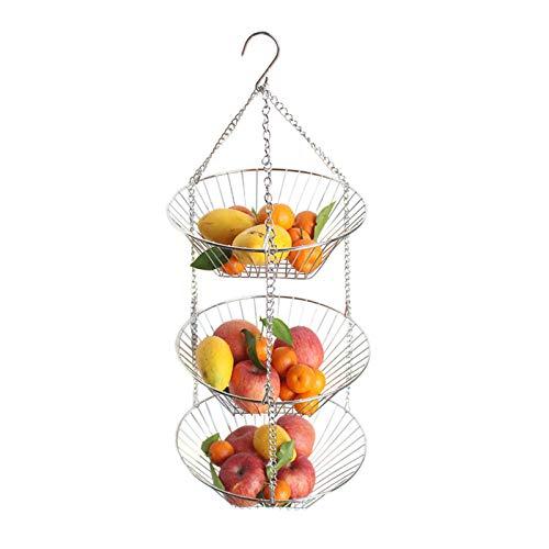 gaeruite Edelstahl 3-lagiger hängender Obstkorb Obstschale, Obstkorb Obstkorb für Küchentische, Bronze