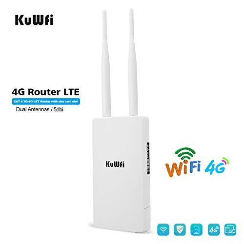 KuWFi Enrutador WiFi 4G SIM, Router inalámbrico CPE inalámbrico al Aire Libre Antenas Dobles de Alta Ganancia con Ranura para Tarjeta SIM Compatibilidad con Cat 4 Se Utiliza en la cámara de monitoreo