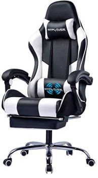 Gtplayer Gaming Chair with Footrest Ergonomic Massage Office Chair Adjustable Swivel Leather High Back Computer Desk Chair with Headrest and Massager Lumbar Support White