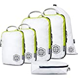 Compression Packing Cubes for Travel - Luggage and Backpack Organizer Packaging Cubes for Clothes (White and Green, 6 Piece Set)