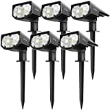 LITOM 12 LED Solar Landscape Spotlights, IP67 Waterproof Solar Powered Wall Lights 2-in-1 Wireless Outdoor Solar Landscaping Light for Yard Garden Driveway Porch Walkway Pool Patio 6 Pack Cold White