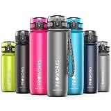 Proworks Bottiglia Acqua a Prova di Perdita | Pallone Sport Scorrimento Ideale per Corsa, Ciclismo & Escursionismo | Bottiglia per Bibite in Plastica Tritan Senza BPA - 0,5 Litri (18 Once) - Grigio
