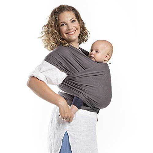 Boba Wrap – Dark Grey Organic – Fascia Elastica Porta Bebè Neonato, Portabimbo Facile dalla nascita a 15kg