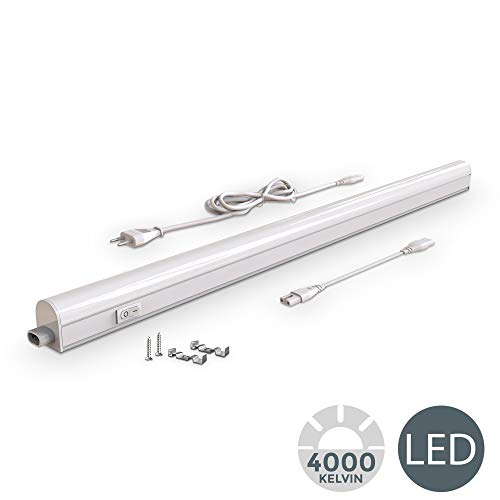 B.K. Licht I LED Unterbauleuchte I Lichtleiste I 87,3cm I 15W I 1200lm I 4.000K neutralweiß I erweiterbar durch Stecksystem
