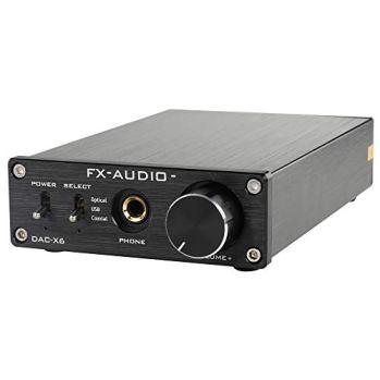 FX-Audio DAC-X6 Mini HiFi 2.0 Digital Audio Decoder DAC Input USB/Coaxial/Optical Output RCA/Headphone Amp 24Bit/96KHz DC12V (Black)