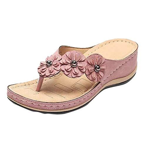 Chanclas Mujer Verano 2019 Sandalias De Plataforma Mujer Flores Cabeza Redonda Sandalias Plana Mujer Verano Cómodo Zapatos Casuales Zapatos De Playa Wyxhkj