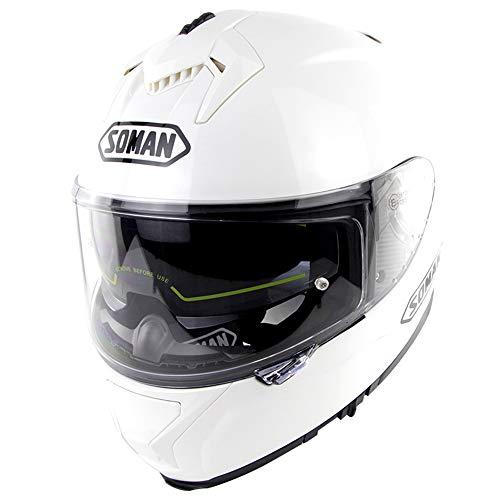 CFYBAO ECE Zertifiziert Crosshelm Motorrad-Straßensport Klapphelm MX ATV Moto Vollvisierhelm mit Doppellinse,Weiß,XXL(63~64) cm