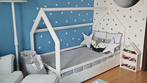 letto & casa in legno stile scandinavo nordico bambino cameretta 160x80 + sponda (colore: bianco)