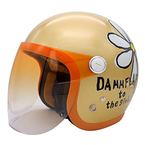 ダムトラックス(DAMMTRAX) バイクヘルメット ジェット フラワージェット グランデ シャンパンゴールド レディースサイズ(57CM~58CM)