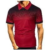 Chemises Homme Manches Courtes Classique T-Shirt Imprimé Dégradé Haut Homme Pas Cher Sport Top Blouse Polos de Tennis de Table de Golf Homme Cebbay(Rouge,M)