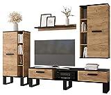 KRYSPOL Wohnwand Grand TV-Lowboard, Hochvitrine, Kommode, Wandregal, Wohnzimmer-Set, Modern Design