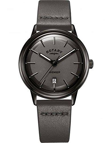 Rotary Herren Avenger Watch alle schwarzen IP-Gehäuse Lederriemen GS05345/20