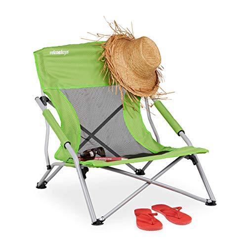 Relaxdays Strandstuhl, faltbarer Anglerstuhl, mit Tragetasche, für Camping, Garten & Strand, HBT: 70 x 62 x 63 cm, grün