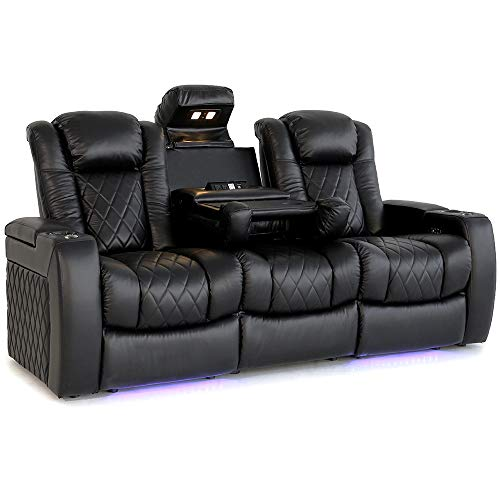 Valencia Tuscany Home Theater Seating | Premium Top Grain Italian Nappa 11000 Leather, Power Headrest, Power Lumbar Support, with Center Drop Down Console (Row of 3, Black)