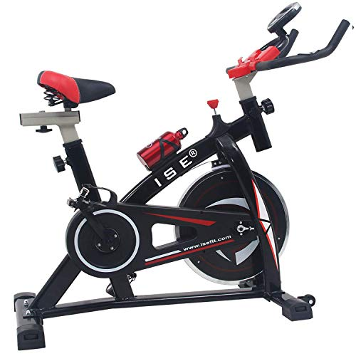ISE Indoor Cycle Ergometer Heimtrainer mit LCD Anzeige,Armauflage,Pulsgurt&gepolsterte,8kg Schwungrad,Fitnessbike Speedbike mit flüsterleise Riemenantrieb-Fahrrad Ergometer bis 135Kg SY-7802