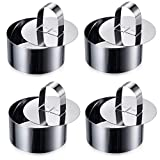 ONEDONE Ring Molds for Baking 3.15' Round Stainless Steel Pastry Rings Cake Rings Forming Rings with Pusher, Set of 4