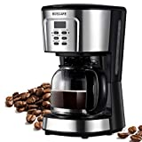 BOSCARE programmable coffee maker,2-12 Cup Drip Coffee maker, Mini Coffee Machine with Auto Shut-off,Strength Control,Silver Black