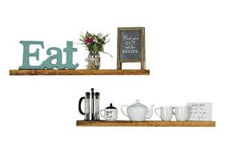 Del Hutson Designs Rustic Pine Solid Wood Floating Shelves Natural Farmhouse Contemporary Living Decor (Walnut, 36 Inch)