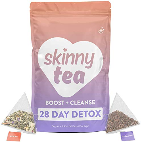Skinny Tea 28 Day Detox Tea for Weight Loss and Reduced Tummy Bloating: The Original 2-Step Detox Tea Program Includes 28 Morning Boost & 28 Evening Cleanse Pyramid Tea Bags 1