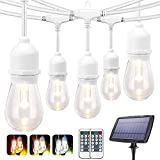 3-Color in 1 Solar String Lights Outdoor Dimmable, 48FT LED Solar Powered String Lights with Remotes, 15 Sockets,Shatterproof S14 Bulbs,Waterproof Warm White Daylight White Light String for Cafe,Patio