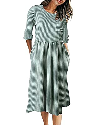 Size Guide:S=US 4-6,M=US 8-10,L=US 12-14,XL=16,Soft and stretchy fabric, we accept 30 days money back! Unique Design: Balloon sleeve, round neckline, classic stripes, elastic waist, casual style, about knee length This dress also features 3 4 sleeves...