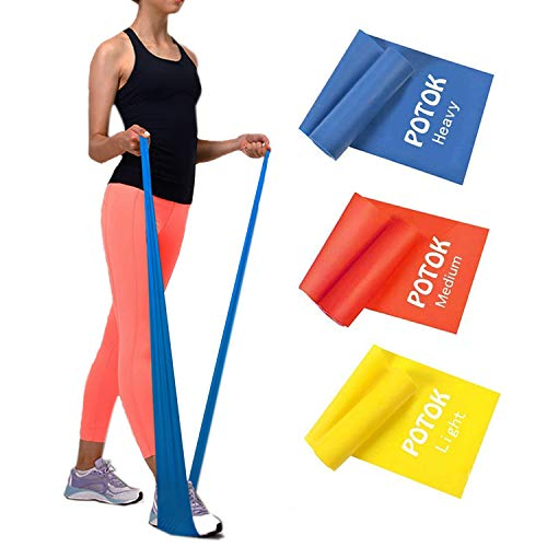 Potok Resistance Band Set, 3Pack Latex Elastic Bands for Upper & Lower Body & Core Exercise, Physical Therapy, Lower Pilates, at-Home Workouts, and Rehab