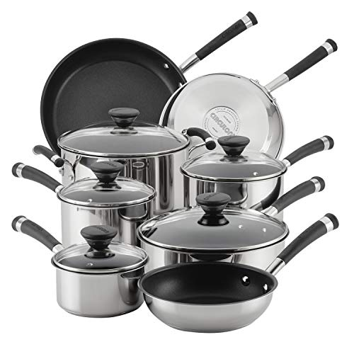 Circulon Acclaim Stainless Steel Cookware Pots and Pans Set, 13 Piece, Black