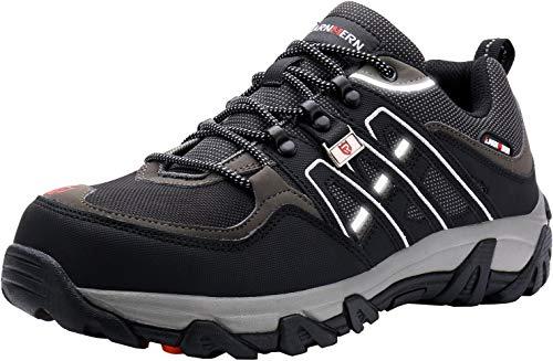 LARNMERN Sicherheitsschuhe Arbeitsschuhe Herren, Sicherheit Stahlkappe Stahlsohle Anti-Perforations Luftdurchlässige Schuhe, Schwarz L1032, 46 EU