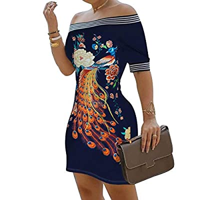 🌸Features: Off shoulder dress is printed with vivid flower and peacock, making you fashionable. Bodycon dress is great for showing your sexy and charming body curve. You can match with heels, bag to get a stylish and pretty look from day to night. 🌸M...