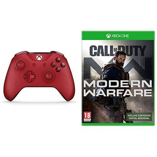 Microsoft - Mando Inalámbrico, Color Rojo (Xbox One), Bluetooth + Call of Duty: Modern Warfare