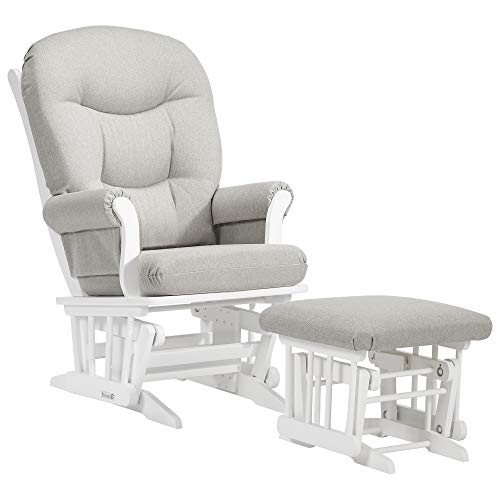Dutailier Adèle Glider Chair and Ottoman Set (White/Light Grey)