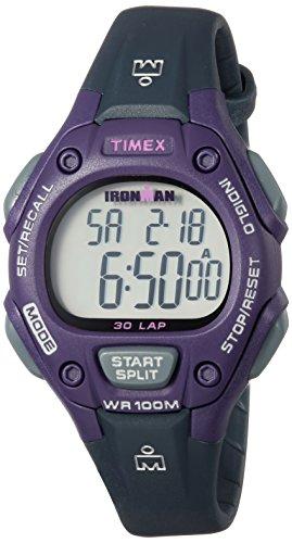 Timex Women's TW5M16000 Ironman Classic 30 Mid-Size Gray/Purple Resin Strap Watch