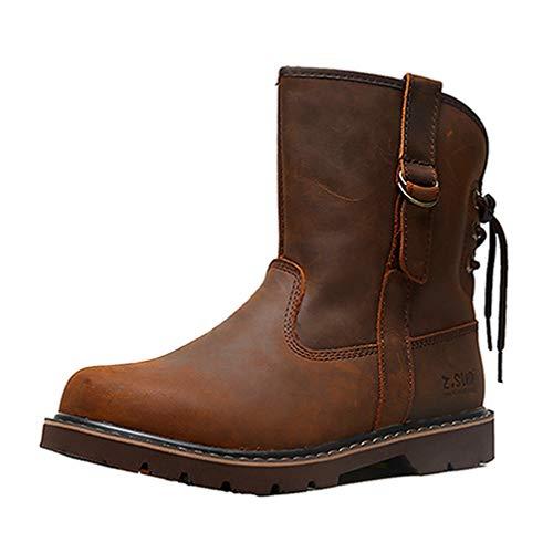 [URNICE] Z.SUO エンジニアブーツ メンズ 本革 ショートブーツ 幅広 ブーツ 24.5cm