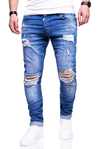 behype. Herren Destroyed Stretch Jeans-Hose Used Slim-Fit 80-2369 Blau...
