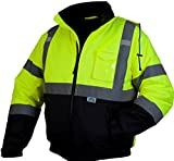 Pyramex Safety Bomber Jacket with Quilted Lining, Hi-Vis Lime, X-Large