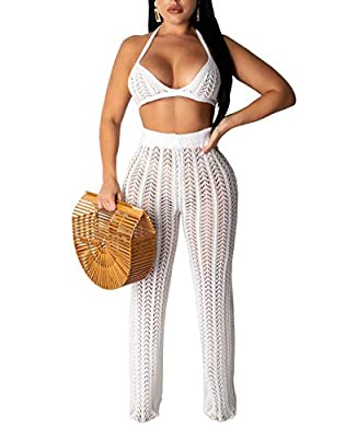 ✔ Material: Knit Cotton Blend, Polyester&Spandex, Breathable, soft and comfy to wear ✔ Design: Womens Sexy Knitted Hollow Out Bandage Crop Top See Through High Waist Beach Pants Bikini Swimsuit Cover Up Club Wear, Make You Dazzling and Fashion ✔ Feat...