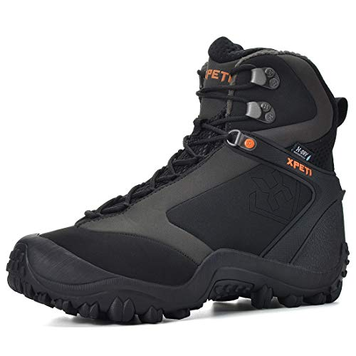 XPETI Men's Ridge Thermal Mid-Rise Waterproof Hiking Trekking Insulated Outdoor Boot (12) Black