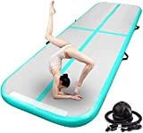 FBSPORT 10ft Inflatable Air Gymnastics Mat Training Mats 4 inches Thickness Gymnastics Tracks for Home Use/Training/Cheerleading/Yoga/Water with Pump