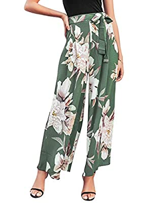 Made of high quality polyester, fabric has no stretch. Please hand wash with warm water Casual and loose fit, fashionable wide leg pants make your leg look more slender Delicate floral print pattern,timeless element in summer time.Make you more gorge...