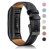 Mornex Bracelet Compatible Fitbit Charge 3 en Cuir,Bande de Remplacement Réglable Sangle Rechange...