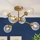 KSANA Gold Semi Flush Mount Ceiling Light, Gold Chandeliers for Dining Rooms, Kitchen, Living Room, D25.2'x H13'