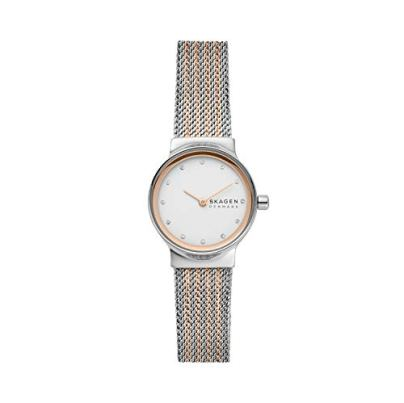 Skagen Women's Freja Quartz Analog Stainless Steel and Stainless Steel Mesh Watch, Color: Two-Tone/Silver Mesh (Model: SKW2699)