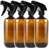 THETIS Botellas de Spray vacas de mbar Boston de 500ml (4 Paquete de) - Contenedor rellenable con pulverizadores de gatillo, Tapas y Etiquetas, Frasco de Vidrio para aceites Esenciales